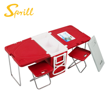 SPRILL 2018 28L Foldable Portable Picnic Camping Chairs Stools Cooler Box  Picnic Table