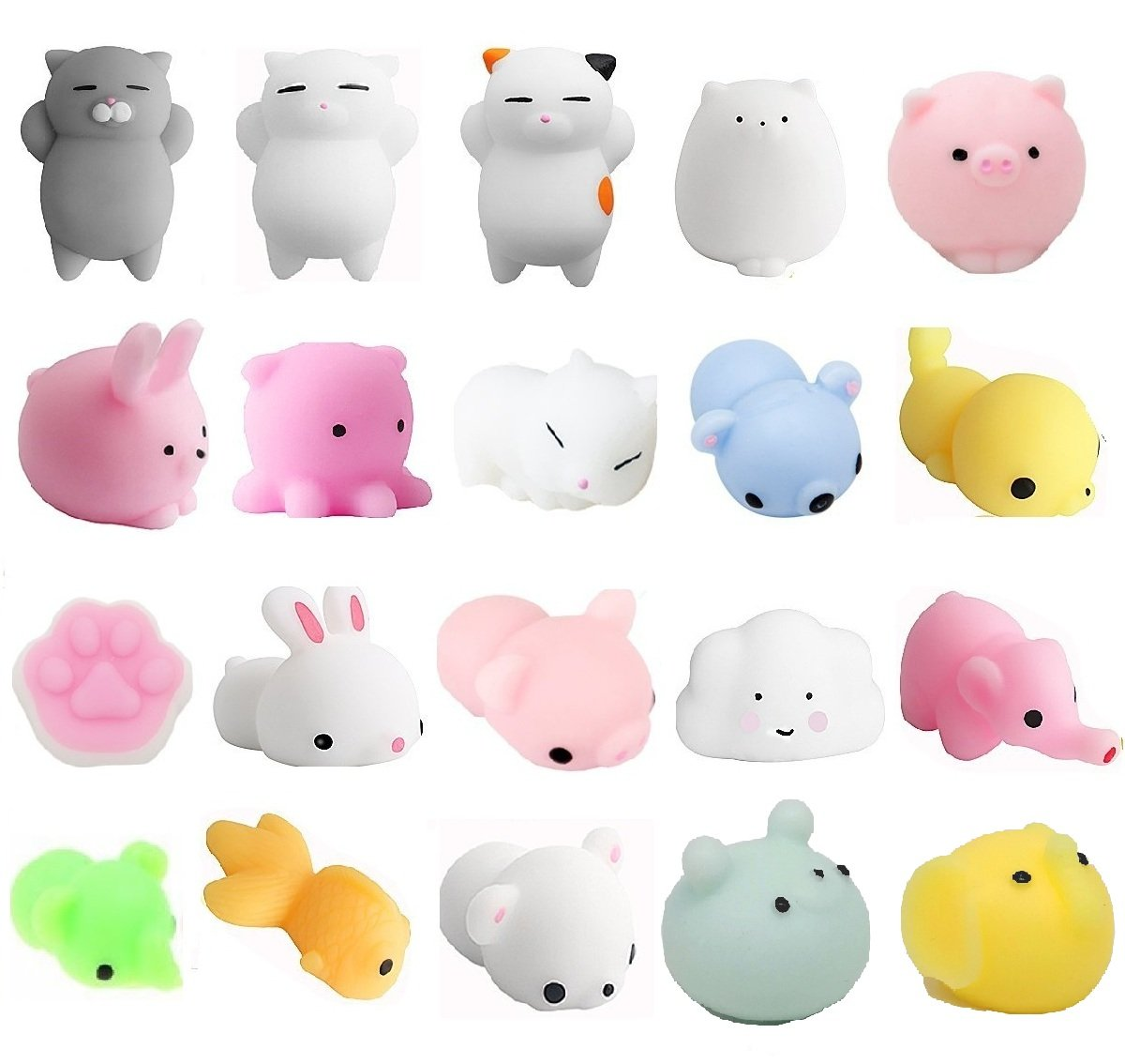 Mochi Squishy Stress Toys, Aiboshi 20 PCS Mini Squishy Animals Stress Relief Squishy Stretchy Toy, Random Color