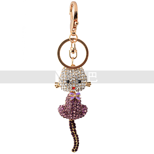 Hot Product Animal Docile Cat Bowknot Handbag Charms Lovely Pendant Cut Cat <strong>Key</strong> for Girls