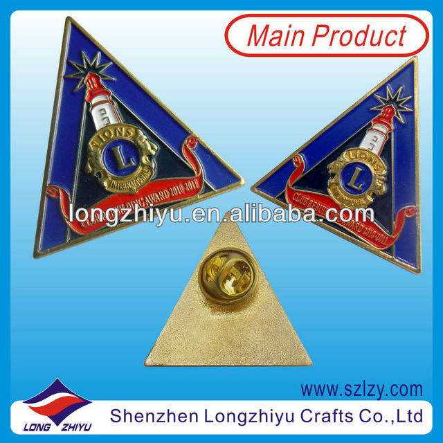Souvenir Custom Brass Pyramid Pin Badge/Soft Enamel Metal Badges Making/Metal Lapel Pins Factory