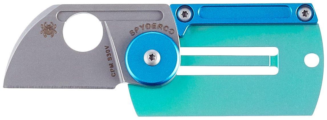 Spyderco C188ALTIP Titanium Dog Tag Folding Knife, Blue/Green, 1.23-Inch