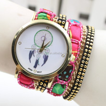 rose pink 2015 alibaba girl watch vogue ,dreamcather leather watch