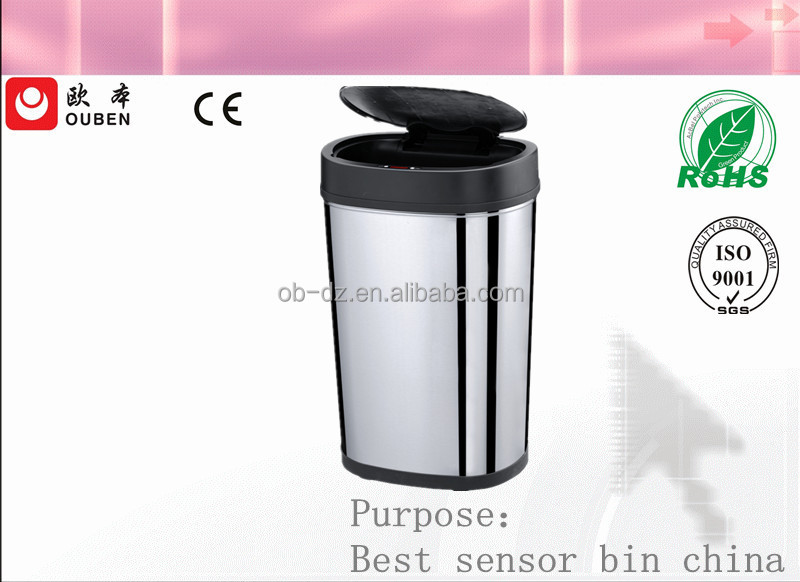 electronic sensor stainless steel hotel lobby trash can 30L
