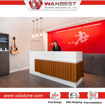 2016 popular luggage table for reception hotel wooden cash counter design