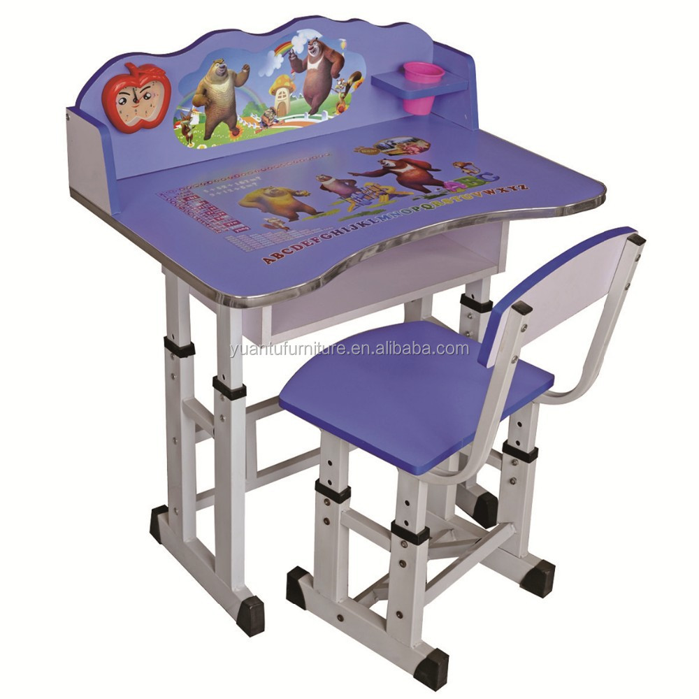 New Cartoon Design Kids Cartoon Study Table And Chair From China
