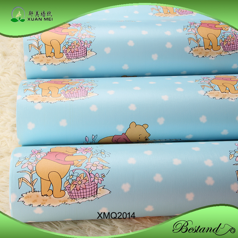 Thicken PVC Self adhesive Wallpaper Kids Room Wallpaper Winnie the Pooh Bedroom Wallpaper