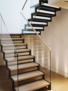 China Manufacture Customized Bifurcated Straight Stairs With Modern Design  Wood Treads