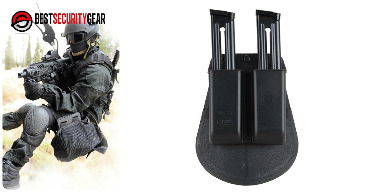 Fobus Holster Double Magazine Pouch for two Single Stack .22,.380, and .32 Caliber - Sig 239, Barretta U22, Bobcat, Ruger MK I, II & III, Walther P22, Browning Buck Mark, S&W 22, 41, 622, 422, and all similar model magazines 6922 FOBUS + Best Security Gear Magnet