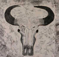 hand paint cow skull decoration oil panting