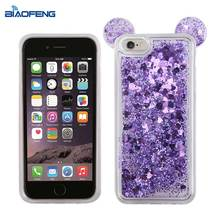 Stylish bling bling glitter soft tpu quicksand liquid phone case with lovely ear for huawei p8 lite