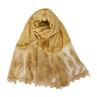 Shawls Embroidered Scarf Shawl Hijab 2020 Fashion Women Tie-dyed Cotton Pearl Lace Scarves Shawls Stole Floral Embroidered Bead Scarf Women Hijab Head Wraps