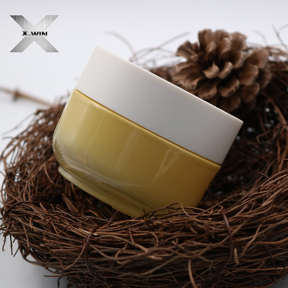 white lid yellow color luxury logo printed toner glass cream jar cosmetic
