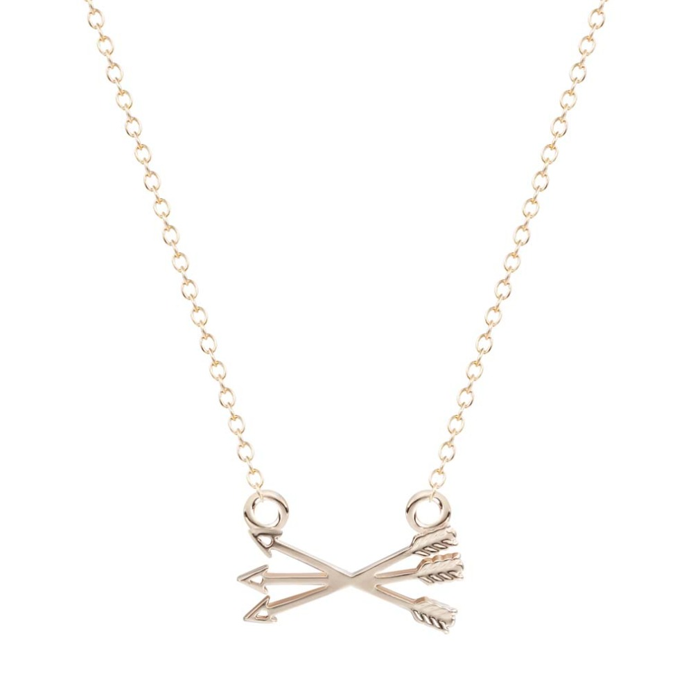 New Piercing Crossed X Arrow Necklace In Gold Silver necklaces pendants for women
