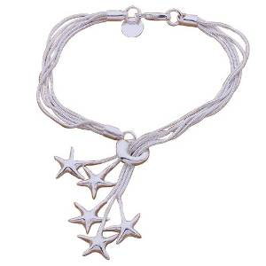 TOOGOO(R) Fashion Beautiful 925 Silver-plated Five Star Pendant Bracelet,for Women, Teen Girls, Young Girls, and Men+Velvet Pouch