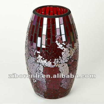 Shinning Red Glass Mosaic Handmade Crack Glass Vase Buy Crack