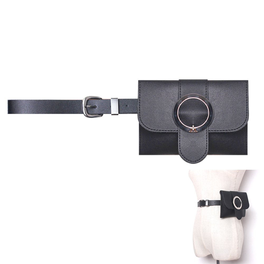Womens leather fanny pack,VITORIA'S GIFT removable Round buckle Belt with MINI Purse Travel Cell Phone Bag