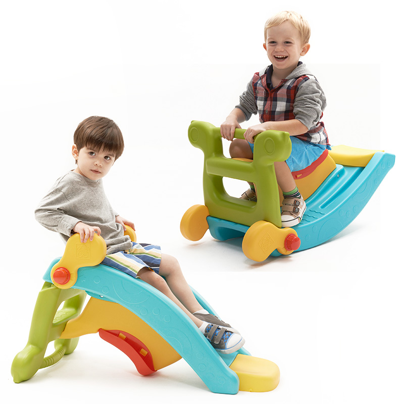 Family indoor multi-functional baby folding mini slide and rocking horse day care center kids <strong>toy</strong> for sale
