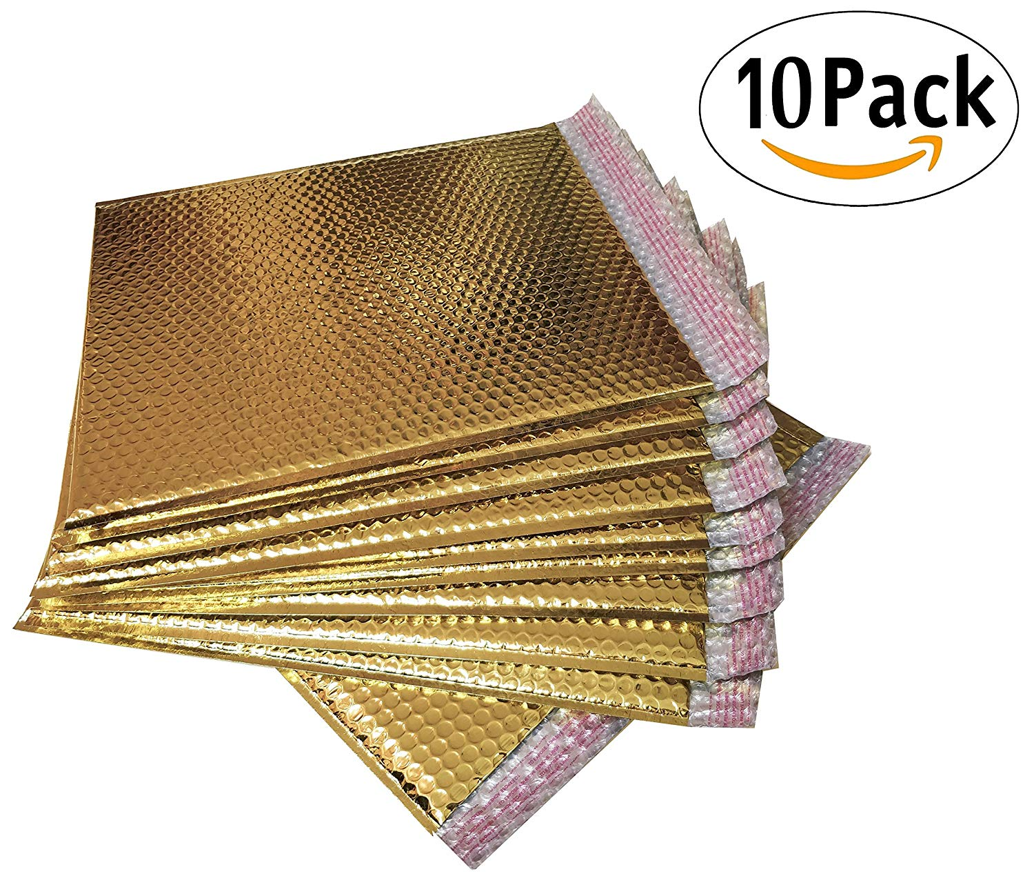 20 Pack Metallic Bubble mailers 7 x 6.75. Gold padded envelopes 7 x 6 3/4. Glamour bubble mailers Peel & Self Sealing cushion packaging mailers. Poly mailing packing wrapping shipping envelopes.