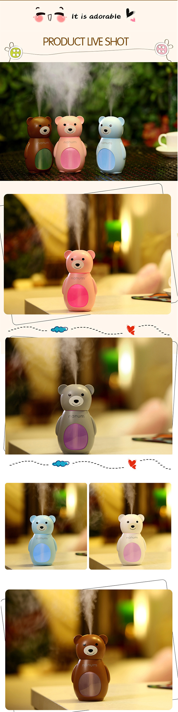 DC 5V Shenzhen Unique Baby Cute Humidifier for Bedroom with LED Night Light
