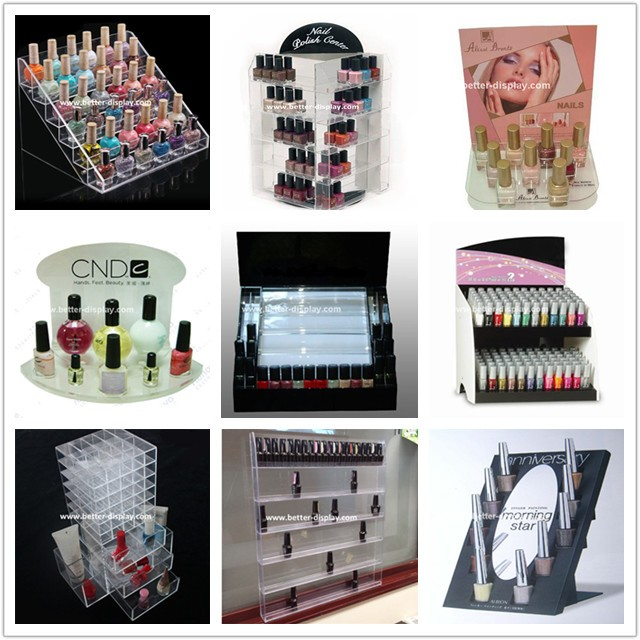 clear acrylic rotating nail polish display case