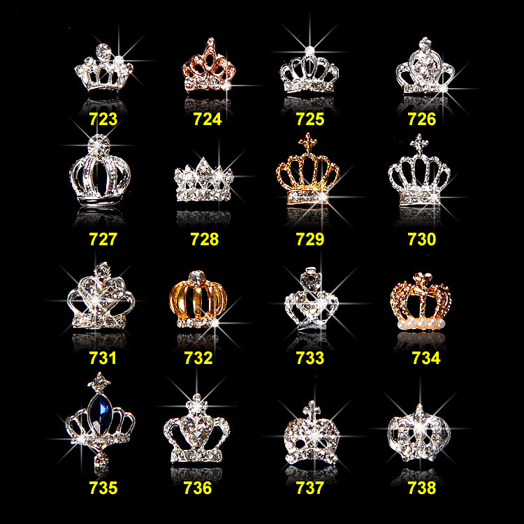 Free Shipping 16Designs Quality Promise Factory Direct 3d crown bows nail art jewelry nails chain pendant strass rhinestones, N/a