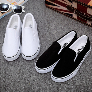 ZY0360A women slip-on white plain canvas shoes