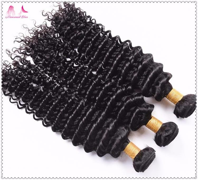 Malaysian Virgin Hair Wet And Wavy Deep Wave Bulk Hair No Attachment Natural Black