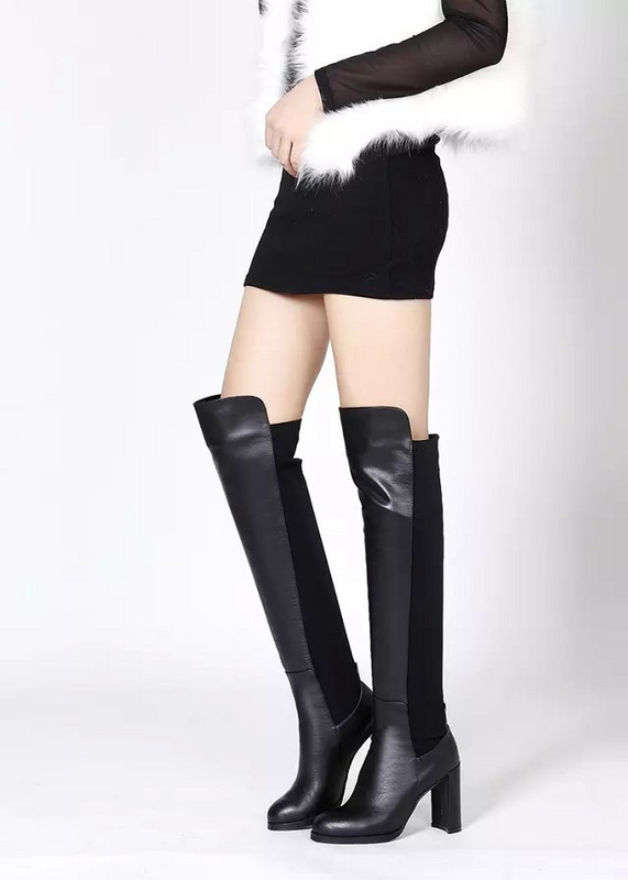 100% Original Box,2015 New Brand Famous Over-The-Knee Boots,Fashion Women 9.5 CM Wedges Black Stretch Shoes,Size EUR 34-39