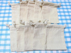 3 x 4 indian Plain Drawstring Natural cotton Muslin Bags jewelry pouches