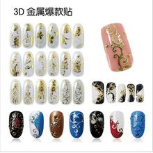 4 Sheets lot nail sticker 108 Design Gold Foil Flowers Stickers For Nails 8 Colors Metal