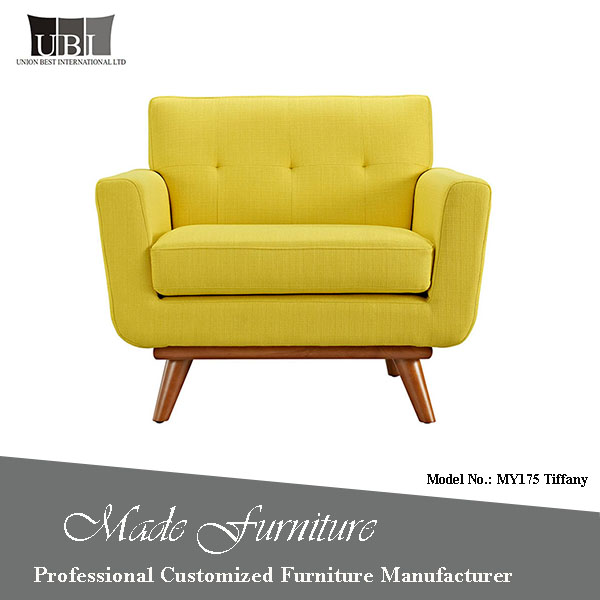 Fancy Solid wooden furniture designs Modern Home Furniture Single wide Seat fabric sofa