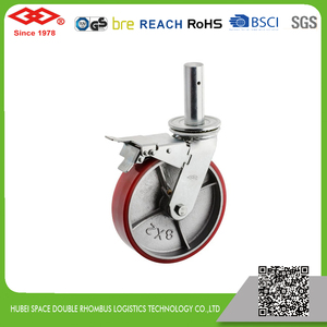 150mm-200mm Scaffold red PU casters with cast iron center