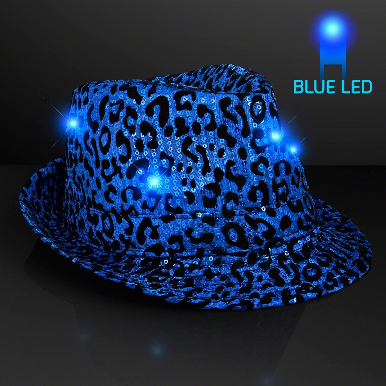 ef9dd653181 ... Sequin Fedora Hat Tie Costume Combo 19.99. Blue Leopard Print Light Up  LED Fedora Hat