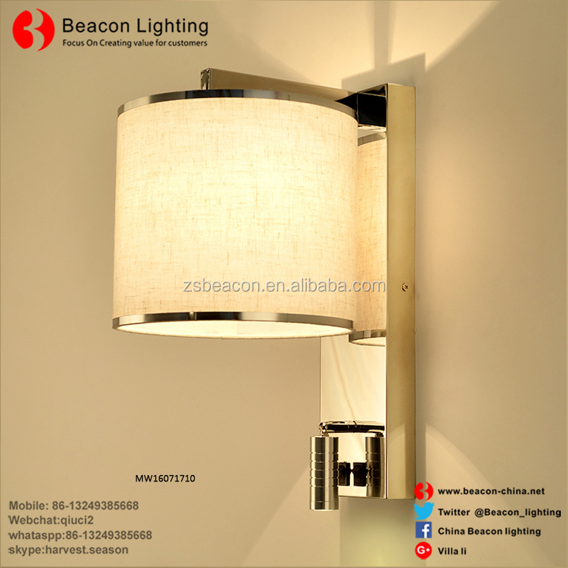 Stainless Steel hotel Wall Lamp With Fabric Shade Led Reading Lights for Hotel Guest Room Bedside Wall Lamp with Usb Charge