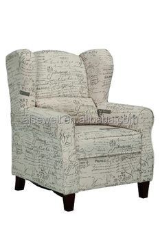 Fabric Arm Chair Armchair For Living Dining Room With Wood Legs And Lumbar Ba