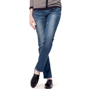 Straight Leg Medium Wash Maternity Jeans
