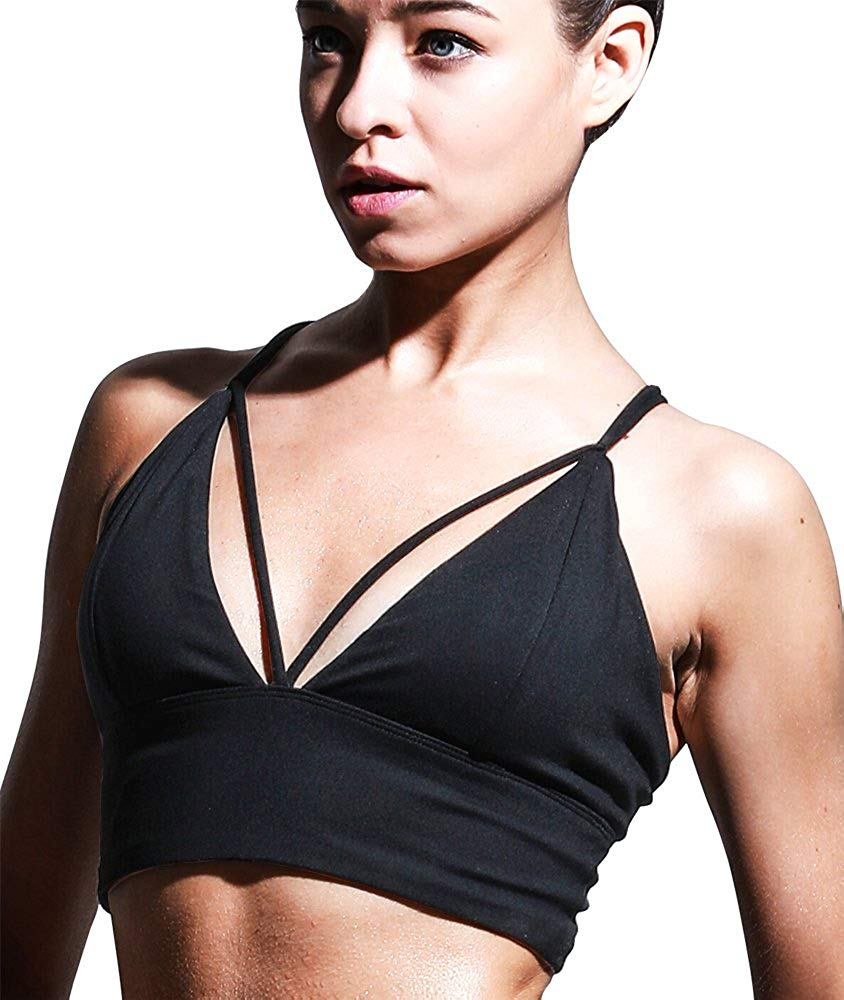 021c39c4e0 Get Quotations · Campeak Padded Strappy Workout Sports Bra - Cross Back Yoga  Tops Activewear Running Clothes for Womens