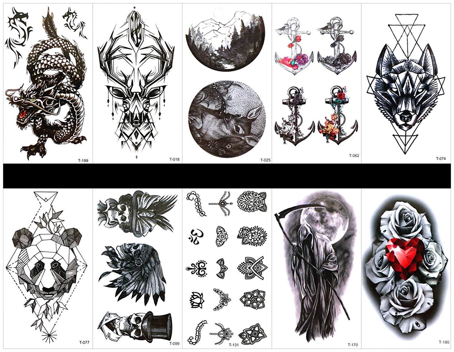 9746453ae8fd2 Get Quotations · Interookie 10pcs fake tattoo stickers dragon temporary  tattoos in one packages,mixed designs as totem