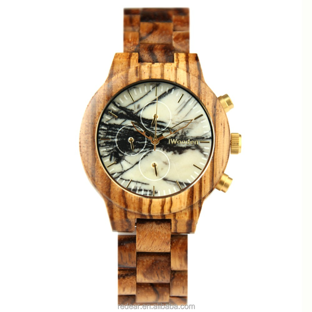 Smart Men's Brand Watch Marble Dial Wooden Watch High Quality Waterproof