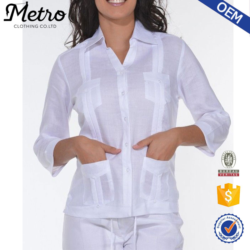 Guayabera En Camisas Blanco De Mujeres Para Las A7fv6wq