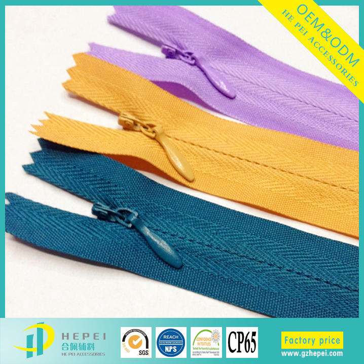 Unique nylon conceal long chain invisible separating lace zipper coil
