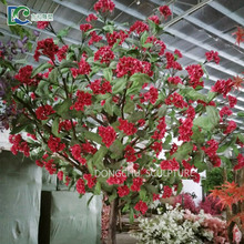 Guangzhou factory customized 2.5m red faux flower tree artificial big-leaf hydrangea tree