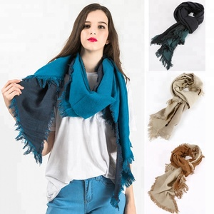 High Style Women Large Blanket Shawl Scarf Fall Winter Warm Wrap Double Sided Reversible Contrast Scarf With Tassel