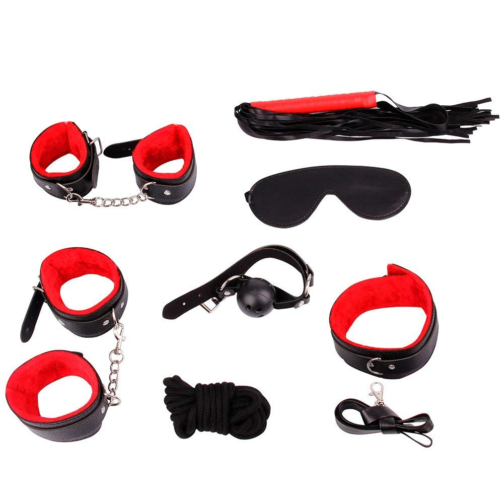 Unihoh Premium PU Leather 7 Pcs Handcuffs Adjustable Cuffs Furry Fuzzy Handcuffs Set Super Soft Comfortable Leather Adjustable Handcuff