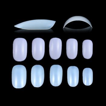 100pcs Blister Packaging Nail Art Design Short Oval Full Curved