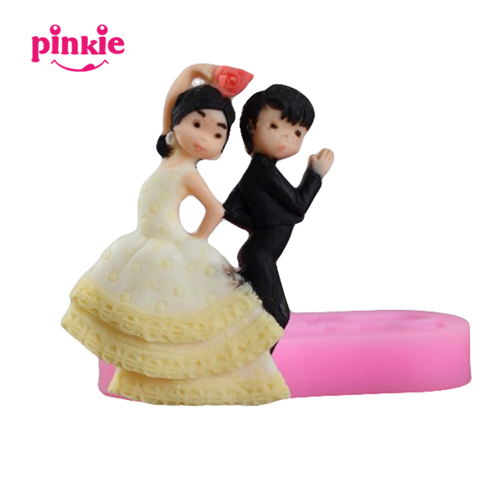 china supplier dancing couple for cake decoration silicone molds fondant molds cake mold