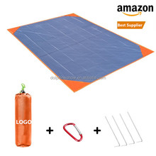 2019 New Outdoor Compact Strong Nylon 낙하산 Beach <span class=keywords><strong>담요</strong></span> Custom 캠핑 Foldable 된 벤치와 Beach Mat Bag