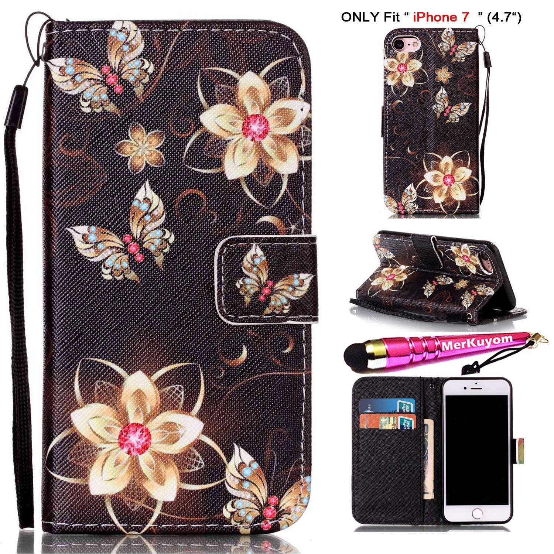 iPhone 7 Case [Wrist Strap], iPhone 7 Cover, MerKuyom [Kickstand] Premium PU Leather Wallet Pouch Flap Flip Cover Skin Case For Apple iPhone 7, iPhone7 4.7-inch, + Stylus (Black Flower Butterfly)