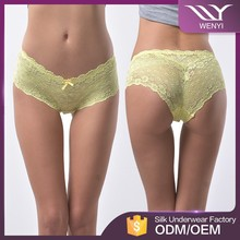 Wholesale hot fashion fancy underwear women yellow silk sexy panty