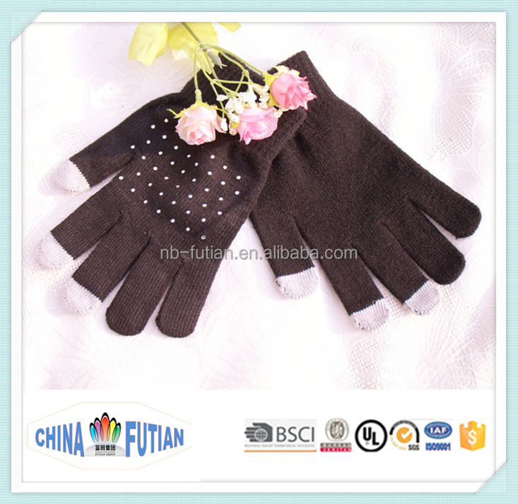 FUTIAN grey color acrylic touch screen /smart phone winter gloves